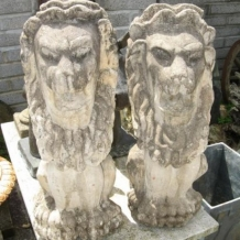 Hand Carved Stone Lions
