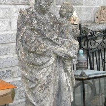 100 plus year old Cast Statue of Joseph holding Jesus