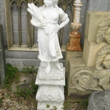 Cast Stone Statue of Girl Holding Flowers